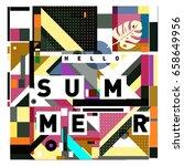 trendy vector holiday summer... | Shutterstock .eps vector #658649956
