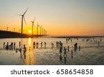 Asia culture - Beautiful landscape of sea level reflect fantasy dramatic sunset sky and people