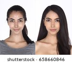 caucasian woman before after... | Shutterstock . vector #658660846
