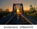Railroad Bridge In Sunrise