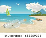 tropical landscape with beach ... | Shutterstock .eps vector #658669336