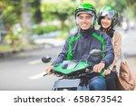 happy commercial motorcycle... | Shutterstock . vector #658673542
