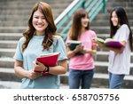 group of happy teen high school ... | Shutterstock . vector #658705756