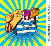 beach bag pop art retro vector...   Shutterstock .eps vector #658707682
