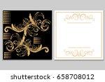 elegant golden black invitation ...   Shutterstock .eps vector #658708012