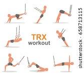 trx workout set. exercise and...   Shutterstock .eps vector #658713115