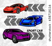 Cartoon Style Sport Car Grunge...