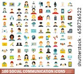 100 social communication icons... | Shutterstock . vector #658726522
