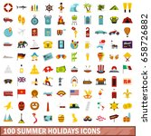 100 Summer Holidays Icons Set...
