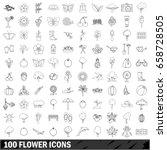 100 flower icons set in outline ...   Shutterstock . vector #658728505