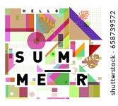 trendy vector holiday summer... | Shutterstock .eps vector #658739572