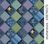 jeans patchwork background 3d... | Shutterstock . vector #658740172
