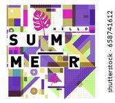 trendy vector holiday summer... | Shutterstock .eps vector #658741612