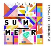 trendy vector holiday summer... | Shutterstock .eps vector #658744216