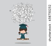 cartoon girl swinging on social ...   Shutterstock .eps vector #658750252