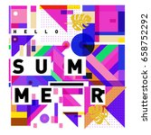trendy vector holiday summer... | Shutterstock .eps vector #658752292