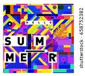 trendy vector holiday summer... | Shutterstock .eps vector #658752382