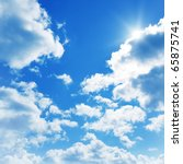 Stock photo blue sky with clouds and sun 65875741