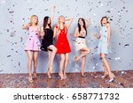 Small photo of Luxury, chick, girlish, maiden, princesses, dream concept. Full length photo of five coquettes, enjoying, wearing colorful short cocktail outfits and highhills shoes, shiny confetti is all around