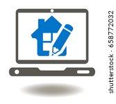 Laptop House Pencil Vector Ico...