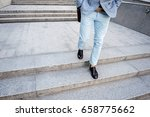 busy stylish male person walking | Shutterstock . vector #658775662