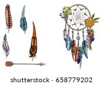 hand drawn ornate dream catcher ... | Shutterstock .eps vector #658779202