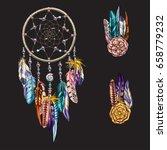 luxury ornate dream catcher... | Shutterstock .eps vector #658779232