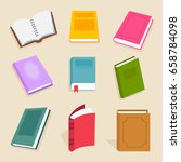 flat vector books and reading... | Shutterstock .eps vector #658784098