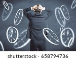 back view of stressed young... | Shutterstock . vector #658794736