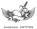 heart with wings pierced by... | Shutterstock .eps vector #658797856