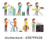 cartoon housewife in housework... | Shutterstock .eps vector #658799638