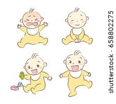 set of babies various poses and ... | Shutterstock .eps vector #658802275