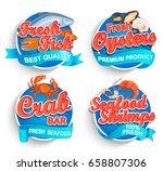 Set Of Fresh Seafood Logo And...