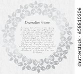 vintage silver round frame on a ... | Shutterstock .eps vector #658810306