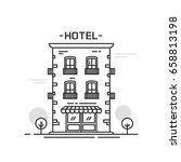 hotel building line outline... | Shutterstock .eps vector #658813198