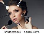 beauty face makeup. closeup... | Shutterstock . vector #658816396