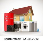kitchen and house appliances ... | Shutterstock .eps vector #658819042