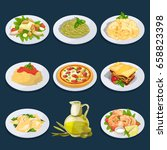 different food from italian... | Shutterstock .eps vector #658823398