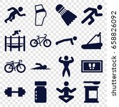 fitness icons set. set of 16