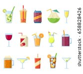 different drinks in bottles and ... | Shutterstock .eps vector #658828426