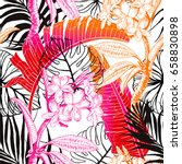 seamless tropical pattern.... | Shutterstock .eps vector #658830898