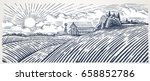 Rural landscape with a farm in engraving style. Hand drawn and converted to vector Illustration | Shutterstock vector #658852786