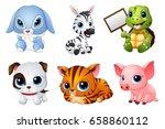 vector illustration of cute... | Shutterstock .eps vector #658860112