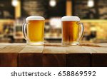 Beer On Wooden Table In Bar An...