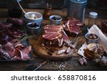 pork spanish lomo sandwich.... | Shutterstock . vector #658870816