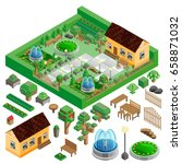 isometric country house and... | Shutterstock . vector #658871032