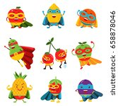 superheroes fruits in different ... | Shutterstock .eps vector #658878046