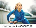 young blonde woman is training... | Shutterstock . vector #658880992
