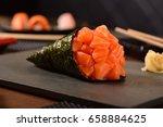 salmon temaki sushi | Shutterstock . vector #658884625