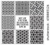set of monochrome seamless... | Shutterstock .eps vector #658885126